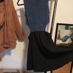 Denim top & Black dress